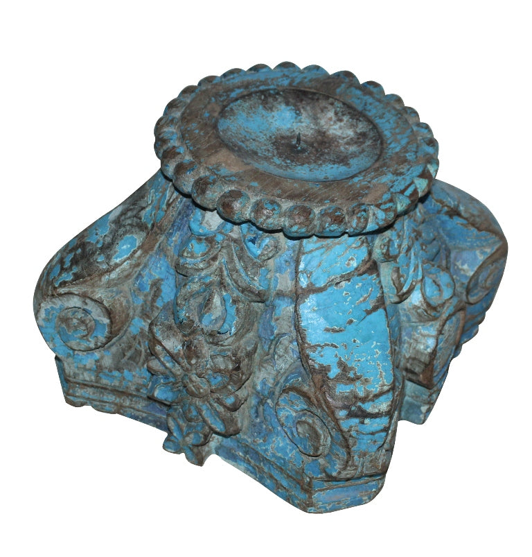 [[Jodhpur blue : Old pillar candle stand///Jodhpur blue : bougeoir avec ancien pilier]]
