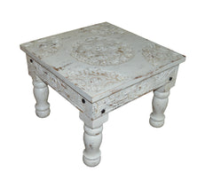 [[Whitewashed square Jali coffee table///Table basse Jali carrée beige pastel]]