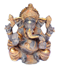 [[Antique black and gold brass Ganesh statue///Statue de Ganesh en laiton noir et or antique]]
