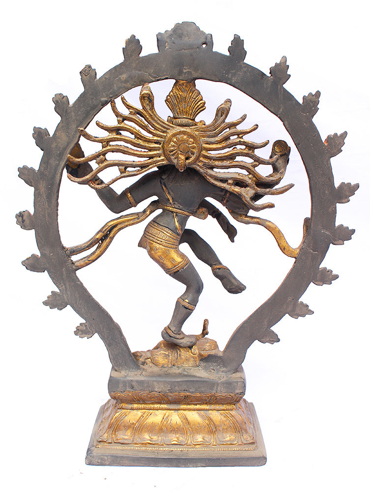 [[Antique gray and gold dancing Shiva///Shiva dansante en laiton gris et doré antique]]