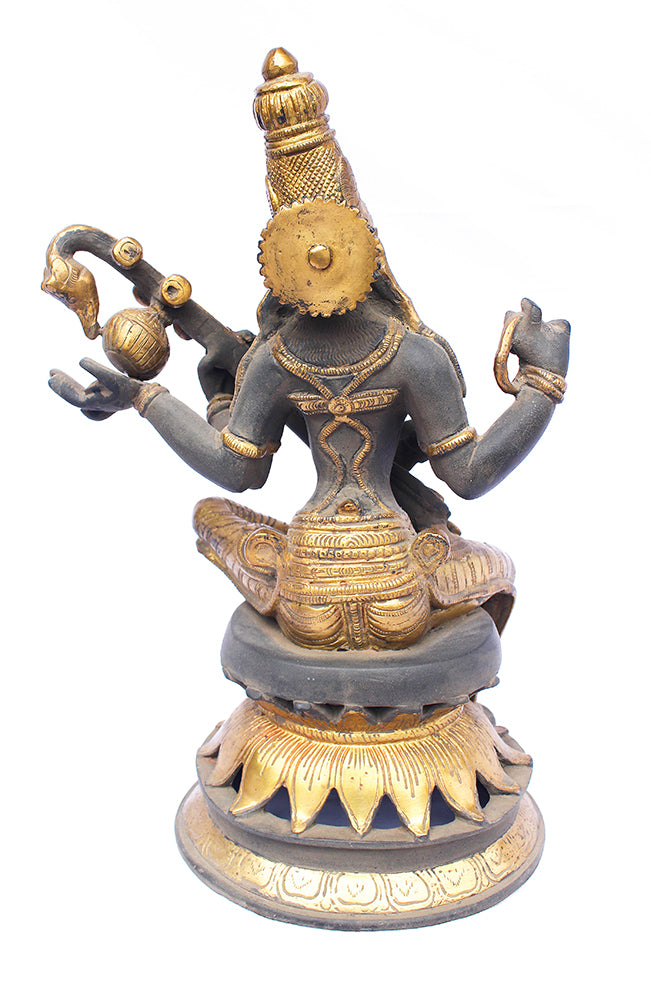 [[Antique black and gold brass Saraswati statue///Statue de Saraswati en laiton noir et or antique]]