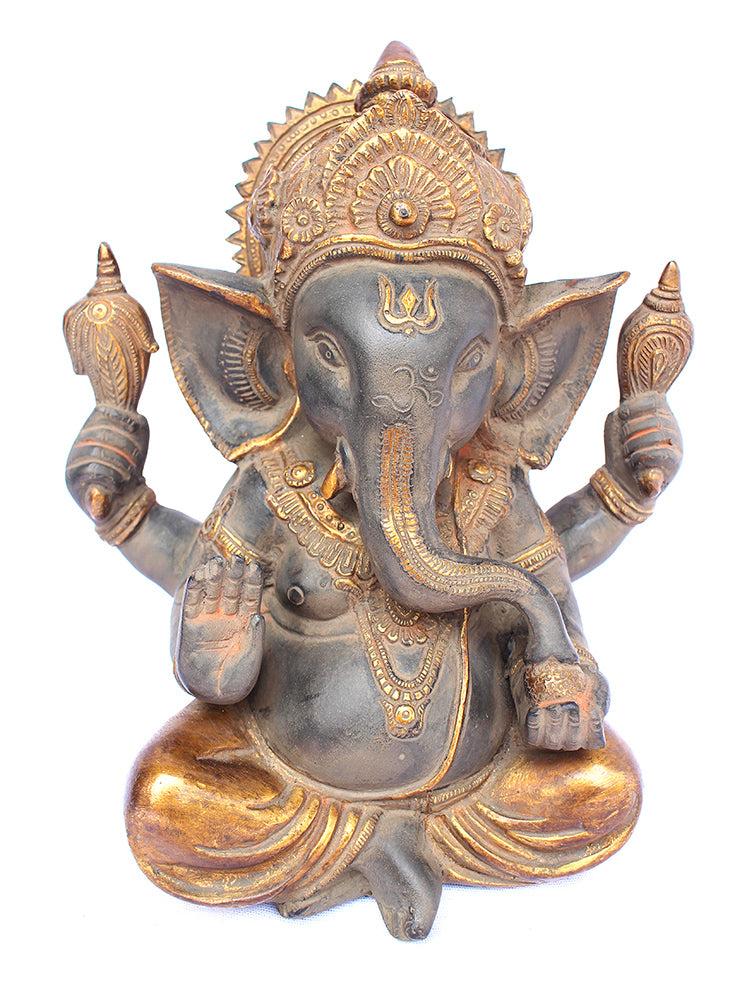 [[Antique gray and gold brass Ganesha///Ganesha en laiton gris et or antique]]