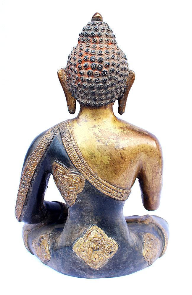 [[Antique gold brass Buddha statue///Statue de Bouddha en laiton doré antique]]