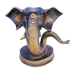 [[Antique black and gold brass elephant head statue///Statue de tête d'éléphant en laiton noir et or antique]]