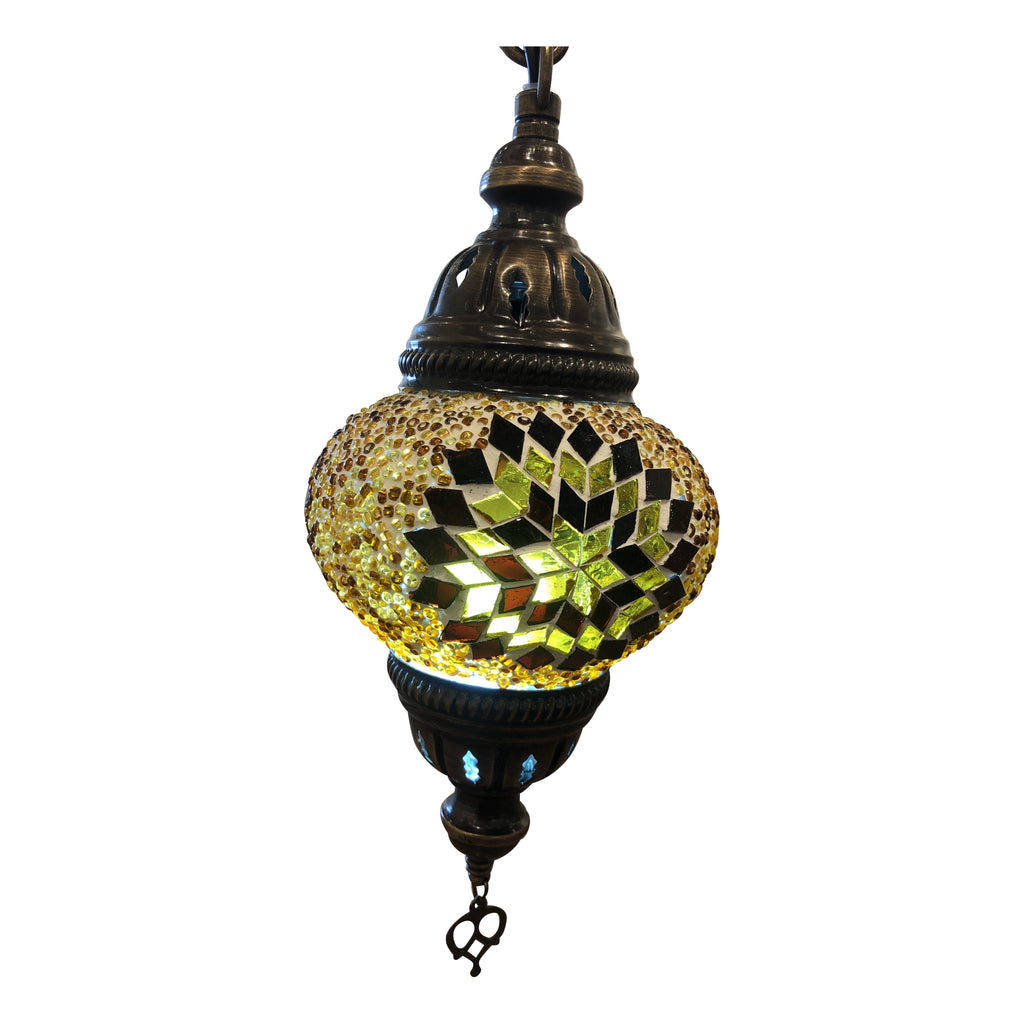 [[Small amber mosaic table light///Petite lampe de table en mosaïque ambre]]