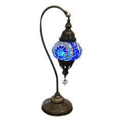 [[Blue mosaic table light///Lampe de table en mosaïque bleue]]