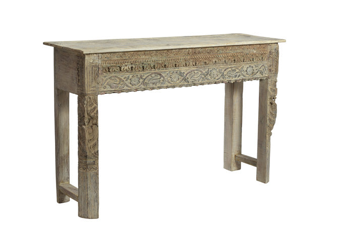[[Side table with old teak wood carvings///Table d'appoint en ancien bois de teck avec des sculptures]]