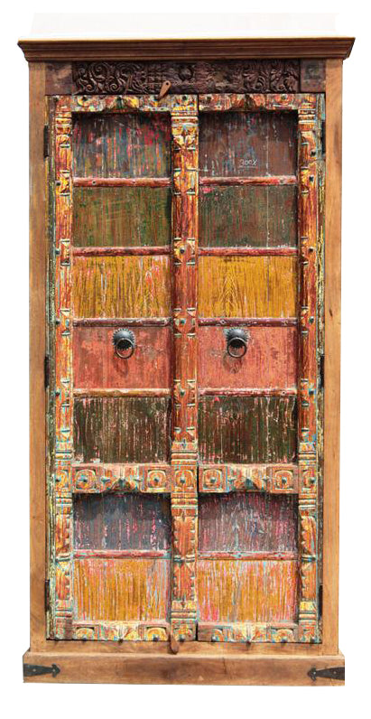 [[Multicolor teak wood cabinet with massive old doors///Meuble en bois de teck multicolore avec portes anciennes massives]]
