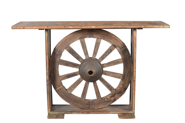 Old Teak Side Table with Wheel