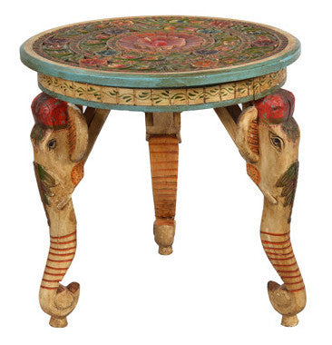 Hand Painted Elephant Table//Table Éléphant Peinte à la Main