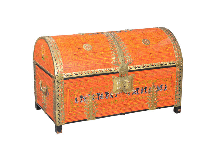 Antique Hand-Painted Orange Chest//Coffre antique peint à la main