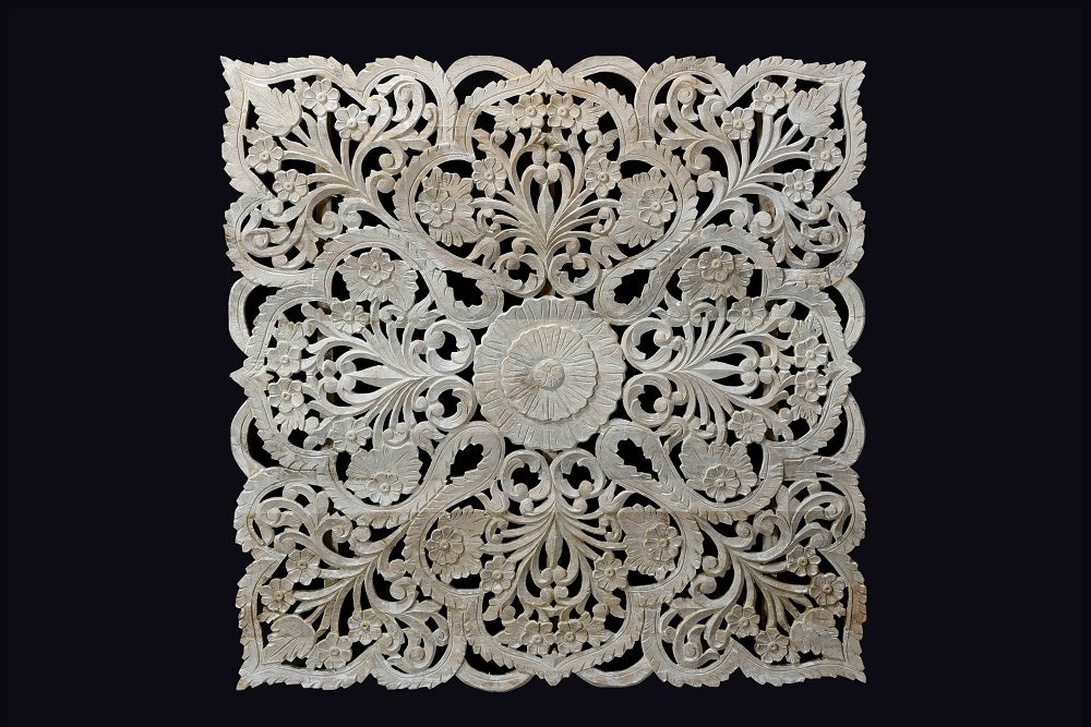 "Natural beige 47"" carved Jali-panel//Panneau Jali sculpté beige naturel 47"""