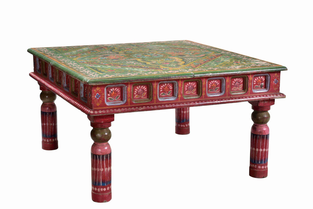 [[Hand painted floral square coffee table///Table basse carrée florale peinte à la main]]