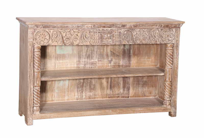 [[Old teak wood buffet with a hand carved decorative panel///Buffet en vieux bois de teck avec un panneau décoratif sculpté à la main]]
