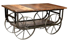 Industrial Coffee Table With Iron Wheels//Table basse industrielle avec roues en fer