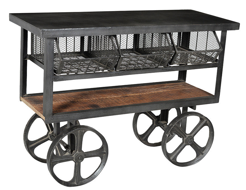Industrial table on cart wheels//Table industrielle sur roues de charrette
