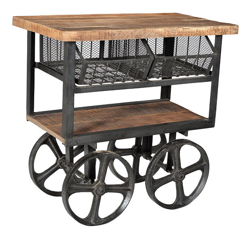 Industrial table on large cart wheels//Table industrielle sur roues de charrettes