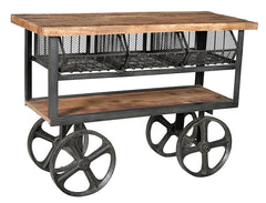 Industrial table on large cart wheels with an old teak wood top//Table industrielle sur roues de charrette avec le dessus en bois de teck