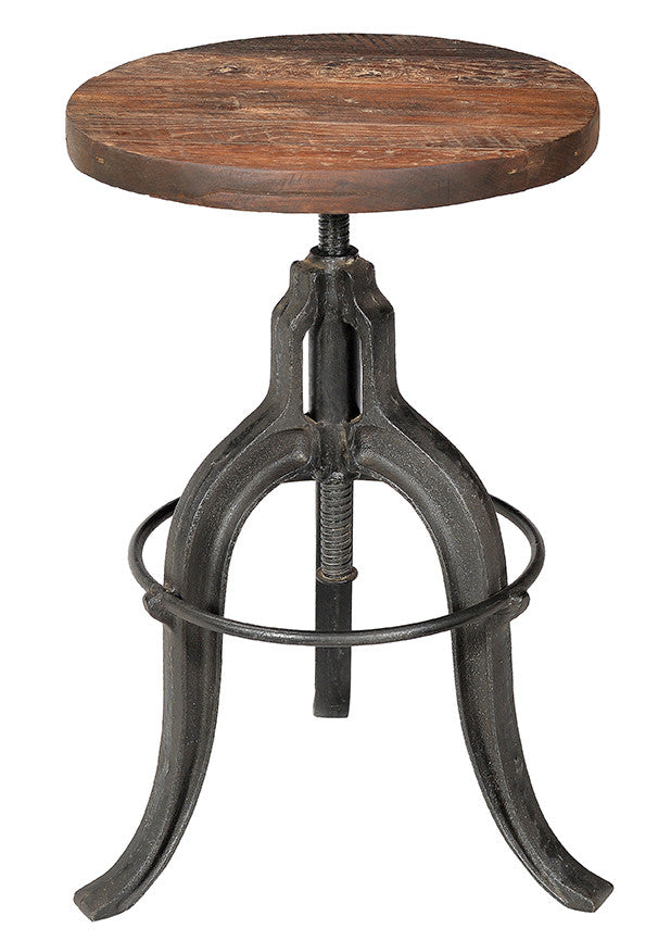 Industrial teak and iron stool//Tabouret industriel en bois de teck et en fer
