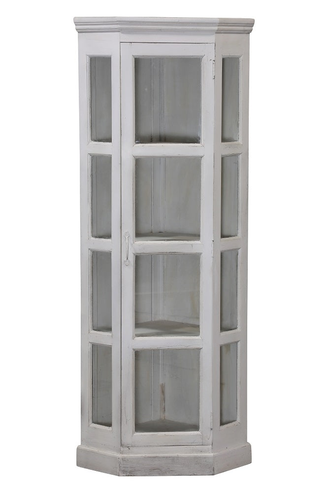 [[Whitewashed corner display cabinet///Vitrine d'angle blanchie à la chaux]]