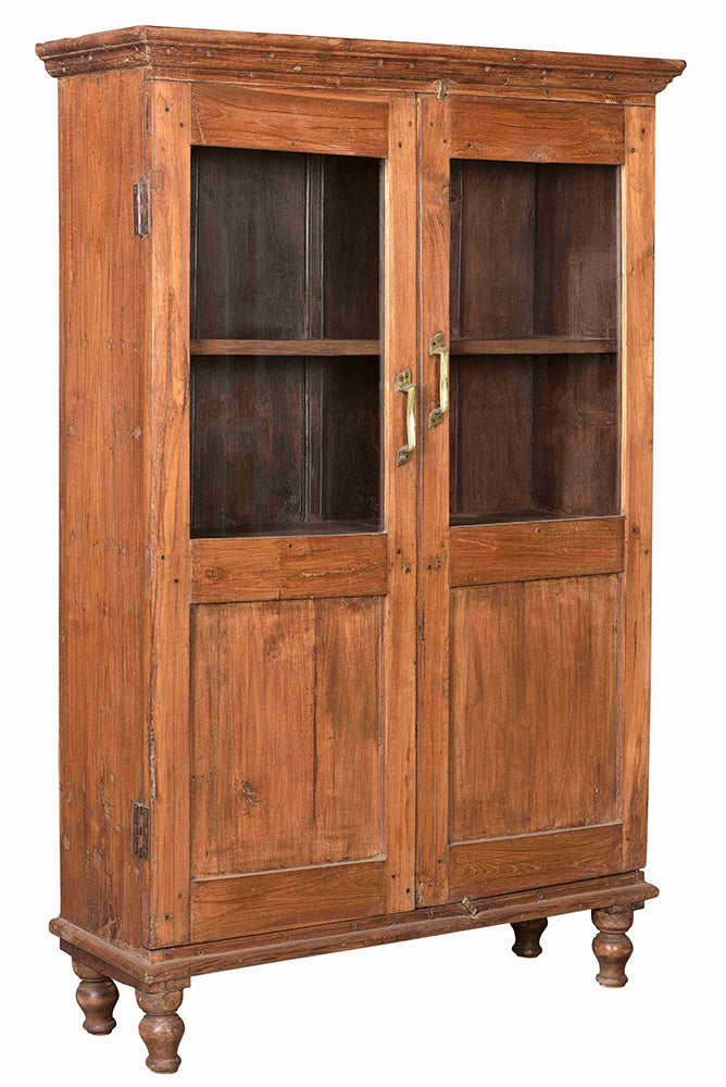 [[Old teak wood glass cabinet///Ancienne vitrine en bois de teck]]