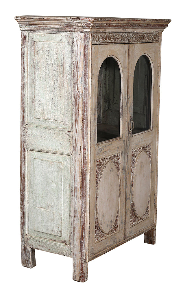[[Antique white old teak wood glass cabinet///Cabinet vitré en bois de teck blanc]]