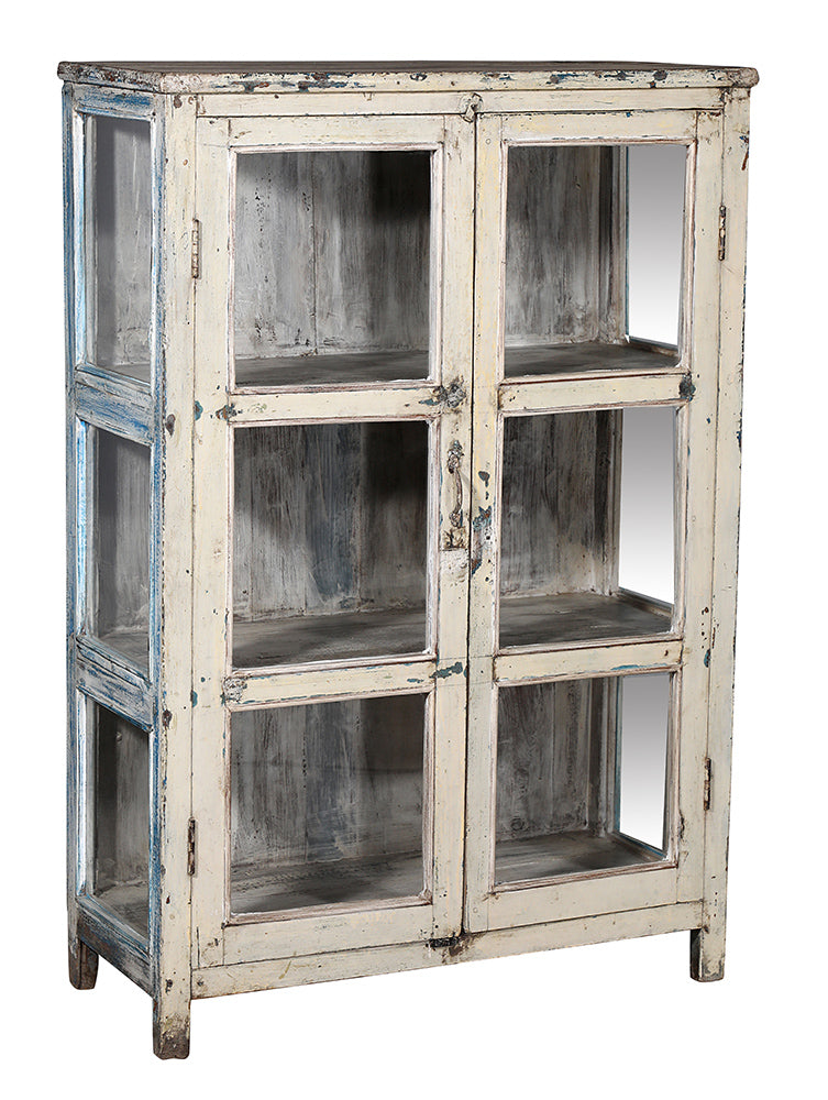 [[Antique white vintage glass cabinet///Ancien cabinet en verre blanc d'époque]]