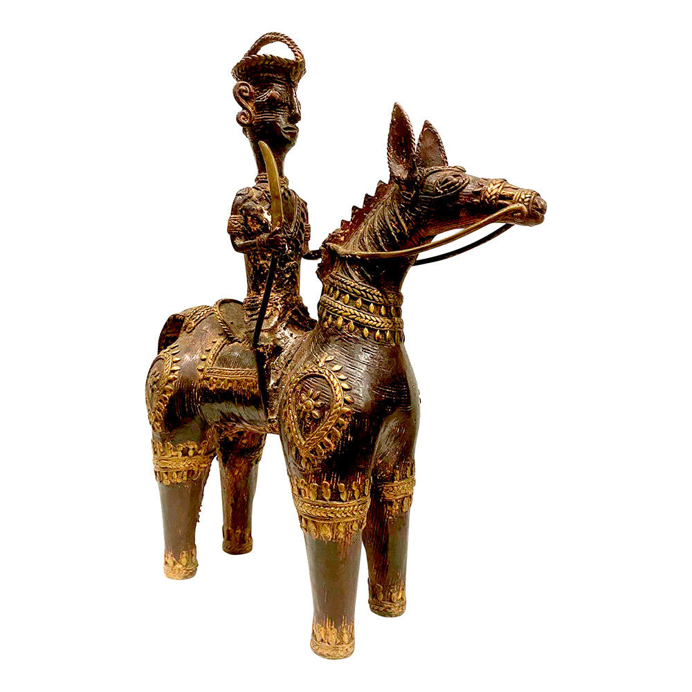 [[Old brass Bastar tribal art horse and rider///Ancien cheval et cavalier en laiton d'art tribal Bastar]]