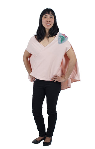 Cape-Style Blouse with Embroidery