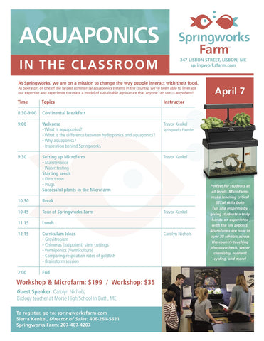 Aquaponics in the Classroom Workshop (Microfarm included)