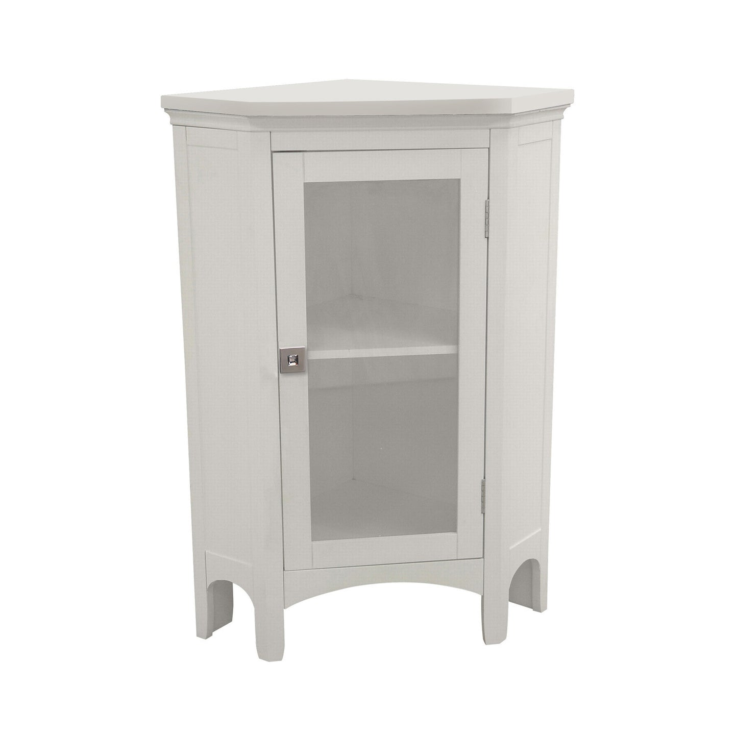 Argo Corner Floor Cabinet (White) with OOAK <strong>Asscher</strong> door knob - One of a Kind for Home