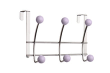 2 x Six Hook Over-The-Door Organizer, Lilac Porcelain Ball, Chrome Finish - One of a Kind for Home