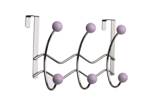 Six Hook Over-The-Door Organizer x 2, Lilac Porcelain Ball, Chrome Wave Finish - One of a Kind for Home
