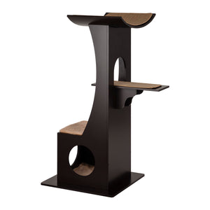 OOAKForHome Wood Cat Dark Espresso Tower - One of a Kind for Home
