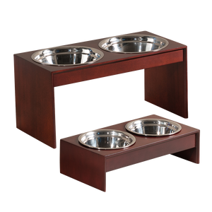 OOAKForHome Jessy Solid Pine Elevated Pet Feeder (L) /w Stainless Steel Bowls - One of a Kind for Home
