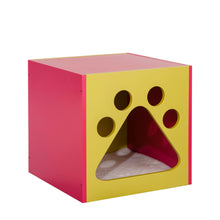 OOAKForHome Wood Mellow Green and Fuchsia Cat Cuddle box - One of a Kind for Home