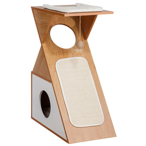 OOAKForHome Wood Zigzag Cat Comfort Scratch House (White) - One of a Kind for Home