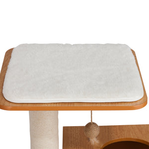 OOAKForHome Wood Cat Fishing Scratch Post House (White) - One of a Kind for Home