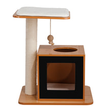 OOAKForHome Wood Cat Fishing Scratch Post House (Black) - One of a Kind for Home