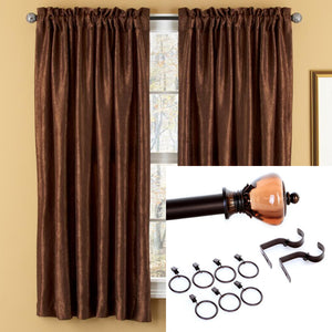 "<b>OOAK</b> Window Rod and Panel - Dark Chocolate 63"" - One of a Kind for Home"