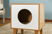 OOAKForHome Wood MiniSquare Cat House (White) - One of a Kind for Home