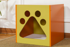 OOAKForHome Wood Mellow Green and Apricot Tan Cat Cuddle box - One of a Kind for Home