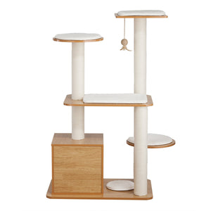 OOAKForHome Wood Multi-Purpose Cat Post Tower Tree (White/Black) - One of a Kind for Home