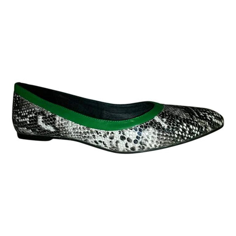 Snake Print and Green Leather Ballet Flats