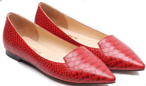 Red Snake Print Leather Pointy Toe Ballet Flats