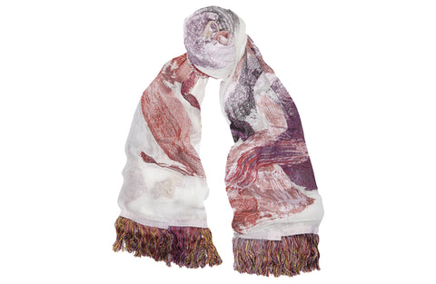 Multicolored silk—jacquard scarf