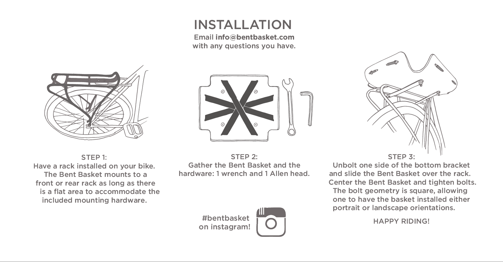 Installing Bent Basket is as easy as 1-2-3
