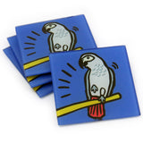 African Grey Parrot Tempered Glass Coasters - set of 4 (Available with or without coaster rack)