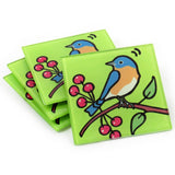 Bluebird Tempered Glass Coasters - set of 4 (Available with or without coaster rack)