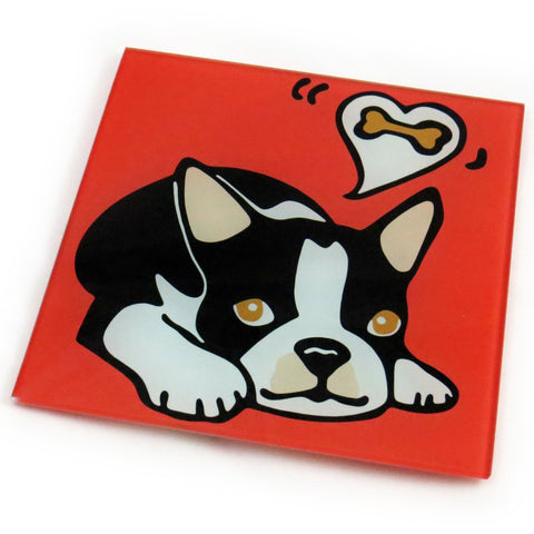 Boston Terrier Dog/Puppy Tempered Glass Trivet